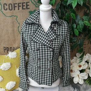 Jou Jou Coat Green Plaid Double Breasted Lined